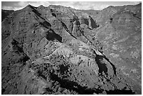 Aerial view of Waimea Canyon. Kauai island, Hawaii, USA (black and white)