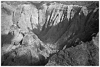 Aerial view of a crater, Na Pali Coast. Kauai island, Hawaii, USA (black and white)