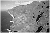 Aerial view of coastline, Na Pali Coast. Kauai island, Hawaii, USA (black and white)