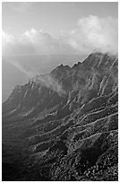 Lush Hills above Kalalau Valley and clouds, late afternoon. Kauai island, Hawaii, USA (black and white)