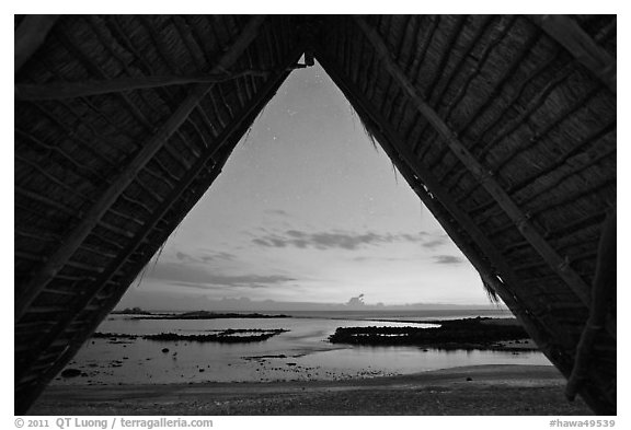 Aiopio fishtrap framed by Halau at dusk, Kaloko-Honokohau National Historical Park. Hawaii, USA (black and white)