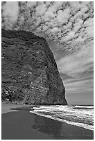 Black sand beach and cliff, Waipio Valley. Big Island, Hawaii, USA (black and white)