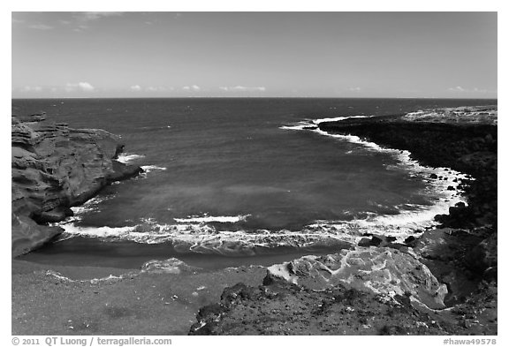 Collapsed cinder cone with green sand, South Point. Big Island, Hawaii, USA (black and white)