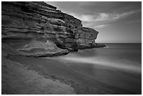 Papakolea Beach and cliff. Big Island, Hawaii, USA ( black and white)