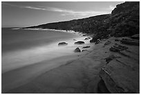 Olivine sand beach. Big Island, Hawaii, USA ( black and white)