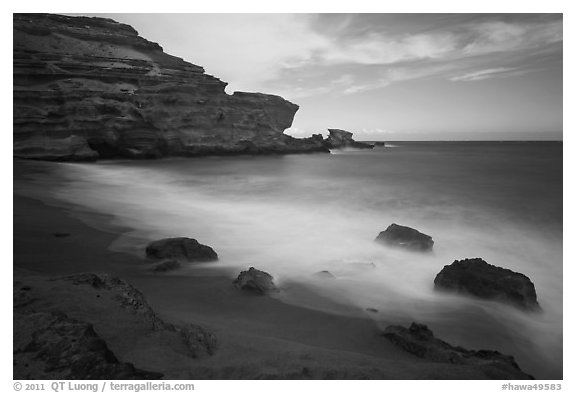 Blurred waves and cliff, Papakolea Beach. Big Island, Hawaii, USA (black and white)