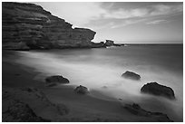 Blurred waves and cliff, Papakolea Beach. Big Island, Hawaii, USA ( black and white)