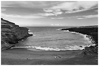 Couple on Papakolea green sand beach. Big Island, Hawaii, USA ( black and white)