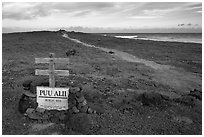 Burial site near South Point. Big Island, Hawaii, USA ( black and white)