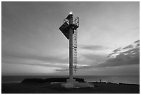 Ka Lea Light at dusk, southernmost point in the US. Big Island, Hawaii, USA ( black and white)