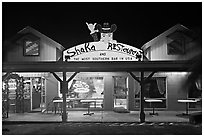 Most southern bar in the USA at night. Big Island, Hawaii, USA ( black and white)