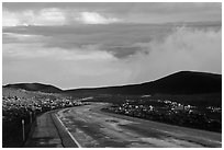 Road and sea of clouds. Mauna Kea, Big Island, Hawaii, USA ( black and white)