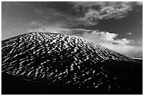 Cinder cone with stripes of snow. Mauna Kea, Big Island, Hawaii, USA ( black and white)