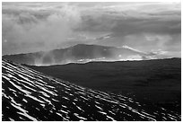 Volcanic mountains and clouds at sunset. Mauna Kea, Big Island, Hawaii, USA ( black and white)