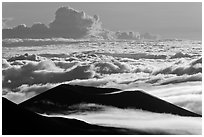 Ridges and sea of clouds. Mauna Kea, Big Island, Hawaii, USA ( black and white)