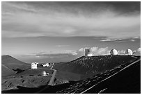 Summit observatory complex. Mauna Kea, Big Island, Hawaii, USA (black and white)