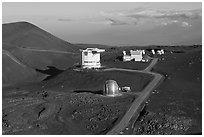 Caltech Submillimeter Telescope, James Clerk Maxwell Telescope, and submillimeter Array. Mauna Kea, Big Island, Hawaii, USA ( black and white)