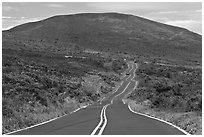 Winding road and hill. Maui, Hawaii, USA ( black and white)