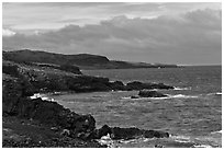 Man fishing, Southern coastline. Maui, Hawaii, USA ( black and white)