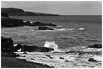 Volcanic coastline. Maui, Hawaii, USA ( black and white)