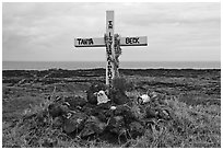 Roadside memorial. Maui, Hawaii, USA ( black and white)