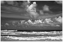 Surf and clouds near Kilauea Point. Kauai island, Hawaii, USA (black and white)