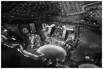 Aerial view of Cove and resort. Honolulu, Oahu island, Hawaii, USA ( black and white)
