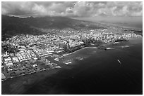 Aerial view. Honolulu, Oahu island, Hawaii, USA ( black and white)