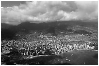 Honolulu from the air. Honolulu, Oahu island, Hawaii, USA ( black and white)