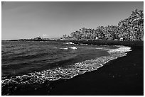 Punaluu black sand beach. Big Island, Hawaii, USA ( black and white)