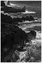 Jagged lava ribs and ocean, MacKenzie State Recreation Area. Big Island, Hawaii, USA ( black and white)