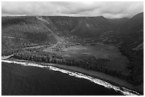 Aerial view of beach and Waipio Valley. Big Island, Hawaii, USA ( black and white)