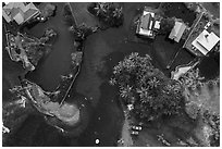 Aerial view of Champagne Ponds area looking down. Big Island, Hawaii, USA ( black and white)