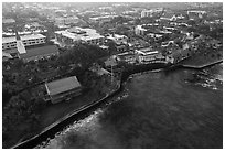 Aerial view of Kailua with Hulihee Palace. Hawaii, USA ( black and white)