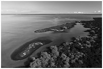 Aerial view of Kiholo Bay islets. Big Island, Hawaii, USA ( black and white)