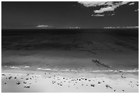Aerial view of Hapuna Beach and Ocean. Big Island, Hawaii, USA ( black and white)