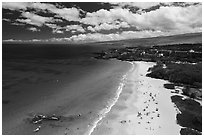 Aerial view of Hapuna Beach and resorts. Big Island, Hawaii, USA ( black and white)