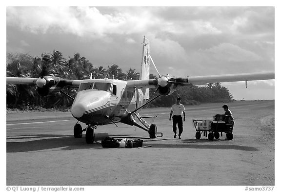 Plane on the airstrip of Ofu Island. American Samoa