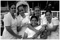 Young women dressed in white for sunday church, Pago Pago. Pago Pago, Tutuila, American Samoa (black and white)