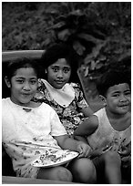 Children in a truck bed. Pago Pago, Tutuila, American Samoa (black and white)