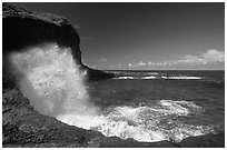 Crashing wave at Maamaa cove. Aunuu Island, American Samoa (black and white)