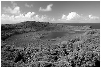 View of the island interior with Red Lake. Aunuu Island, American Samoa (black and white)