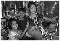 Children at the Apsara Arts  school. Phnom Penh, Cambodia (black and white)