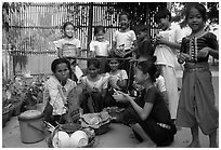 School break. Phnom Penh, Cambodia (black and white)