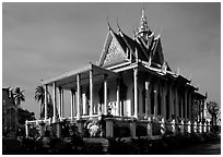 Silver Pagoda, Royal palace. Phnom Penh, Cambodia (black and white)
