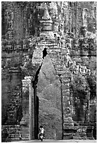 Gate of temple complex. Angkor, Cambodia (black and white)