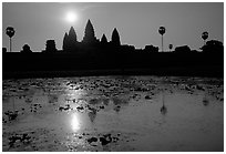 Angkor Wat reflected in pond at sunrise. Angkor, Cambodia (black and white)