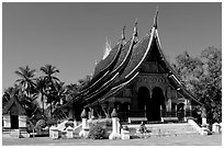 Front of the Sim of Wat Xieng Thong. Luang Prabang, Laos (black and white)