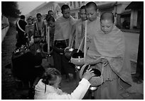 Women give alm during morning procession of buddhist monks. Luang Prabang, Laos ( black and white)