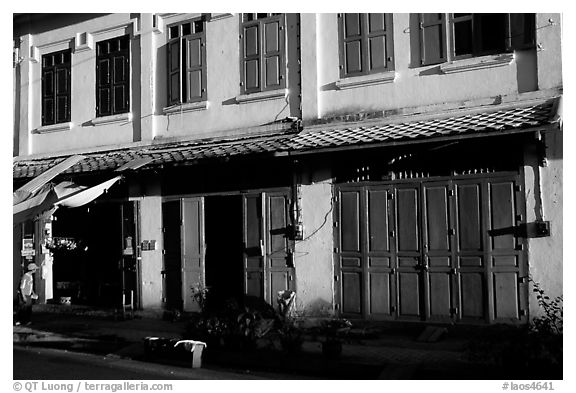 Old colonial houses. Luang Prabang, Laos (black and white)